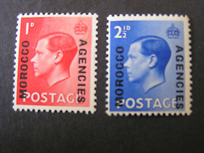 GREAT BRITAIN, MOROCCO AGENCIES, SCOTT # 244a/245a 1936 KEV111 OVPT ON GB MNH