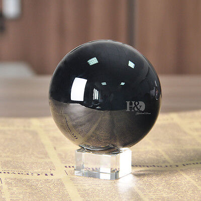 Black Magic Crystal Glass Healing Ball Sphere Paperweight Home Decor 100mm+Stand