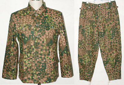 German Elite Linen Hbt Dot 44 M43 Field Uniform Tunic & Trousers L-31055