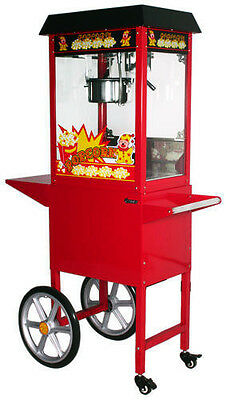 Commercial Stainless Steel Popcorn Machine Red Cooker Popper Cart Red