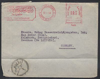 1954 Ägypten Egypt Cover to Germany, meter mark and censor [ca713]