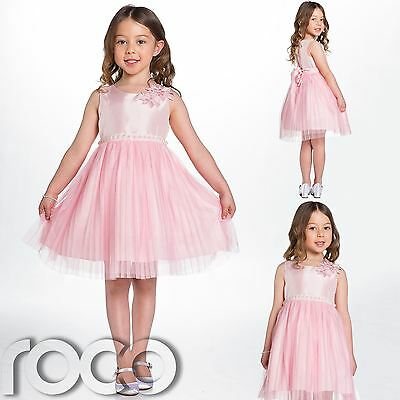 Couche Tot, Pearl Detail Pink Flower Girl Dress, Bridesmaid, Girls Party Dress
