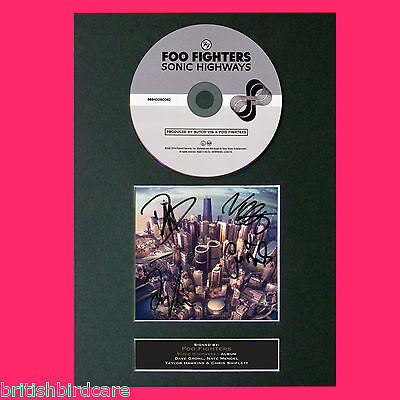 FOO FIGHTERS Sonic Highways Album Signed CD COVER MOUNTED Autograph Repro A4 65