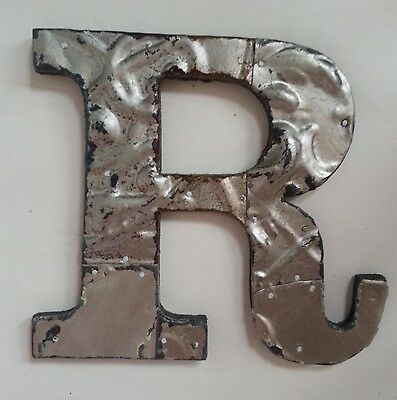 "Antique Tin Ceiling Wrapped 8"" Letter 'R' Patchwork Metal Mosaic Silver"