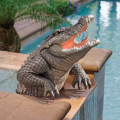 Florida Swamp Gator Alligator Sculpture Home Garden Pond Crocodile Statue