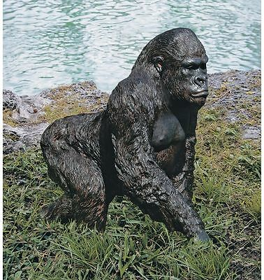 Realistic Life Size Gorilla Lowland Jungle Great Ape Garden Sculpture