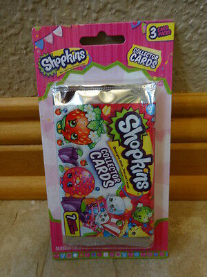 SHOPKINS COLLECTOR CARDS - SEASON 1 & 2 - 3 PACKS OF 7 - TRADING CARDS