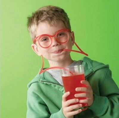 Funny Colorful Soft Glasses Unique Flexible straw Drinking Tube Kids Party Gift