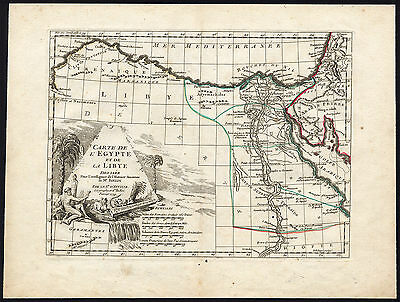 Antique Map-EGYPT-LYBIA-PYRAMID-SPHINX-OBELISK-D'Anville-1738