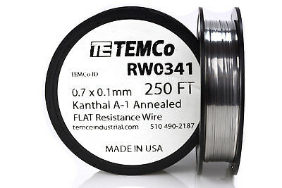 TEMCo Flat Ribbon Kanthal A1 Wire 0.7mm x 0.1mm 250 Ft Resistance A-1