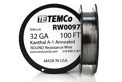TEMCo Kanthal A1 wire 32 Gauge 100 Ft Resistance AWG A-1 ga