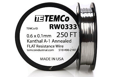 TEMCo Flat Ribbon Kanthal A1 Wire 0.6mm x 0.1mm 250 Ft Resistance A-1