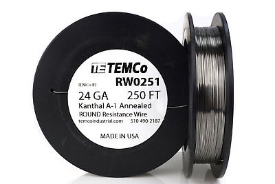 TEMCo Kanthal A1 wire 24 Gauge 250 Ft Resistance AWG A-1 ga