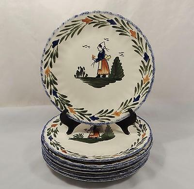 "Set Of 7 Blue Ridge French Peasant 10 1/4"" Dinner Plates"