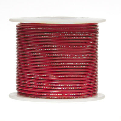"18 AWG Gauge Solid Hook Up Wire Red 100 ft 0.0403"" UL1007 300 Volts"