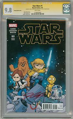Star Wars #1 Young Variant Cgc 9.8 Signature Series Signed John Cassaday 1St Day
