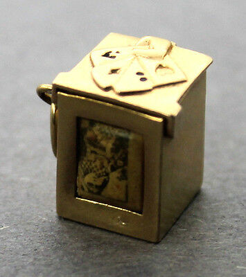 Vintage Mechanical Box With Miniature Playing Cards 14K Yellow Gold Charm