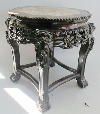 Fine Antique Chinese Pierce-Carved Rose Wood Pedestal Table c. 1920  Marble Top