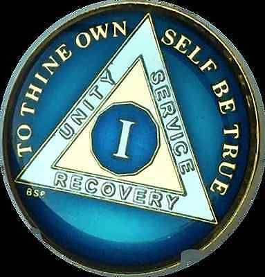 1 Year Blue AA Alcoholics Anonymous Medallion Chip Tri-Plate Gold Nickel Plated