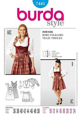 Burda Sewing Pattern Ladies Dirndl Dress Sizes 10 - 24 7443