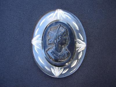 Cameo Pin Brooch Lucite Black Clear Artisan Woman High Relief Vintage Antique