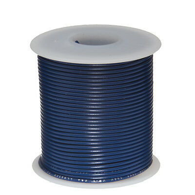 "22 AWG Gauge Solid Hook Up Wire Blue 100 ft 0.0253"" UL1007 300 Volts"