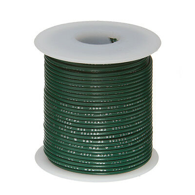 """22 AWG Gauge Solid Hook Up Wire Green 100 ft 0.0253"""" UL1007 300 Volts"""