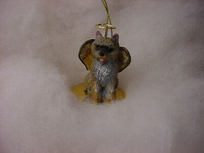 CAIRN TERRIER brindle dog ANGEL Ornament HAND PAINTED resin Figurine Christmas