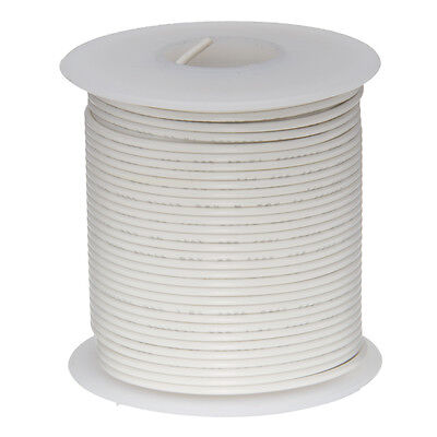 "22 AWG Gauge Solid Hook Up Wire White 100 ft 0.0253"" UL1007 300 Volts"