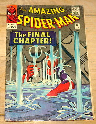 AMAZING SPIDER-MAN CURT CONNERS NO #33 1966 RARE ORIGINAL VINTAGE COMIC UK 10d