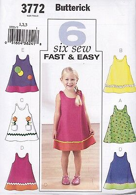Butterick Sewing pattern  Very Easy GIRLS'  Dress SIZES 1 - 6 YEARS  B3772