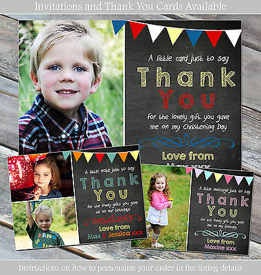 10 Personalised Thank You Card Birthday Christening Boy Girl Joint Bunting Photo