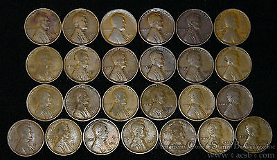 1c One Cent Penny 1912 P G/VG-VF/EF Half Roll 25 Lincoln Wheat Coins in Tube.