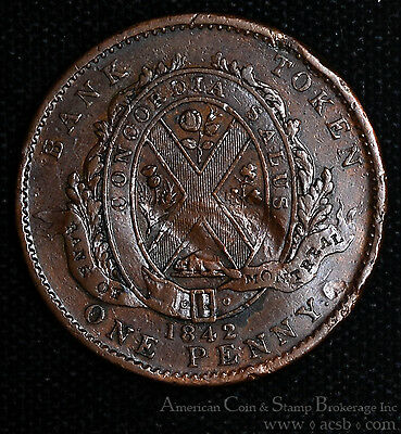 Canada 1 Penny Token 1842 copper KM#Tn19 2 Sous Montreal Lower Canada.