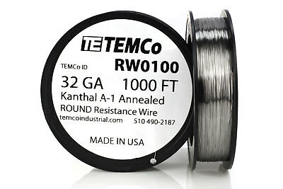 TEMCo Kanthal A1 wire 32 Gauge 1000 Ft Resistance AWG A-1 ga
