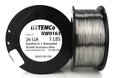 TEMCo Kanthal A1 wire 26 Gauge 1 lb (1626 ft) Resistance AWG A-1 ga