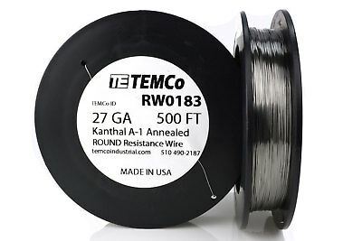 TEMCo Kanthal A1 wire 27 Gauge 500 Ft Resistance AWG A-1 ga