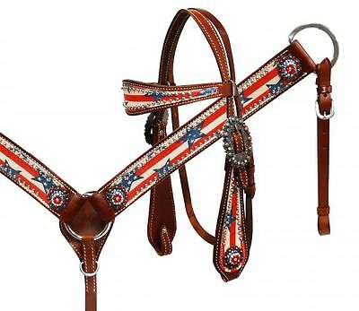 Bling! Western Saddle Horse Bridle Breast Collar Plate W/ Stars And Stripes