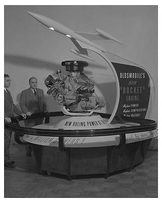1953 Oldsmobile Rocket Engine Display Woolhouse Automobile Factory Photo ch8272