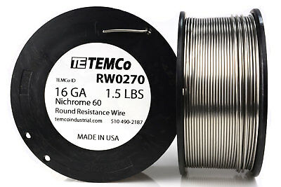 TEMCo Nichrome 60 series wire 16 Gauge 1.5 lb (208 ft)Resistance AWG ga