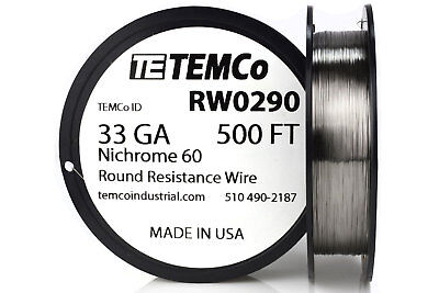 TEMCo Nichrome 60 series wire 33 Gauge 500 Ft Resistance AWG ga