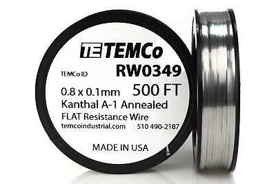 TEMCo Flat Ribbon Kanthal A1 Wire 0.8mm x 0.1mm 500 Ft Resistance A-1