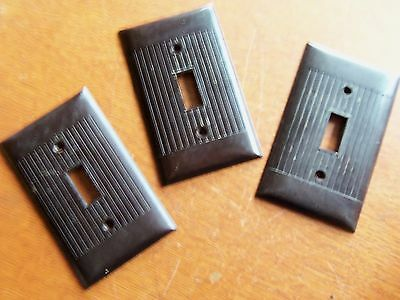 Three Vintage Brown Bakelite Toggle Switchplates Switch Plates c1940 Sierra