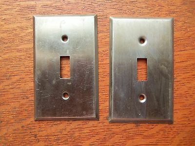Two Antique Vintage Mid-Century Steel Single Toggle Switch Plates