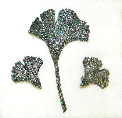 "Fine Vintage Sterling Silver & Marcasite Set Huge 4"" Brooch/Pin & Clip Earrings"