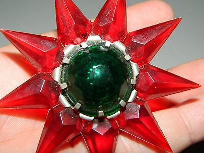 Vintage Matchless Wonder  Candle Xmas Tree Figural Star Bulb Red w/Green Jewel