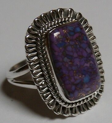 925 Sterling Silver Genuine Purple Copper Turquoise Ring Size ~ P 1/2  (US 8)