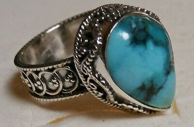 925 Sterling Silver Genuine Turquoise Ring Size ~ US 9  (R 1/2)