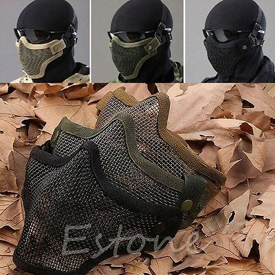 Hunting Airsoft Mask Metal Mesh Half Face Protection Paintball Tactical Strike