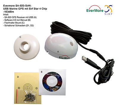 48 Channel USB Marine GPS Receiver Evermore SA-920 NMEA 0183 Laptop -163dBm SIRF